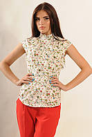 Натуральная хлопковая женская блуза с растительным рисунком