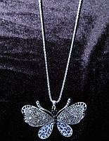 Классическое колье на цепочке Бабочка со стразами, фото 1