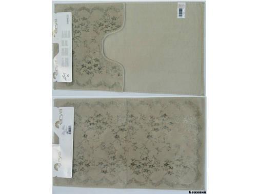 Набор ковриков для ванной и туалета Arya Bahar 2 Пр. 60Х100 Бежевый, фото 2