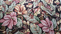 Гобелен K-10 цветы на темном обивочная мебельная ткань Турция (вит), фото 1