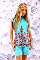"""Летний женский костюм из льна """"Ornament"""" мини-шорты и блуза с вышивкой (5 цветов)"""