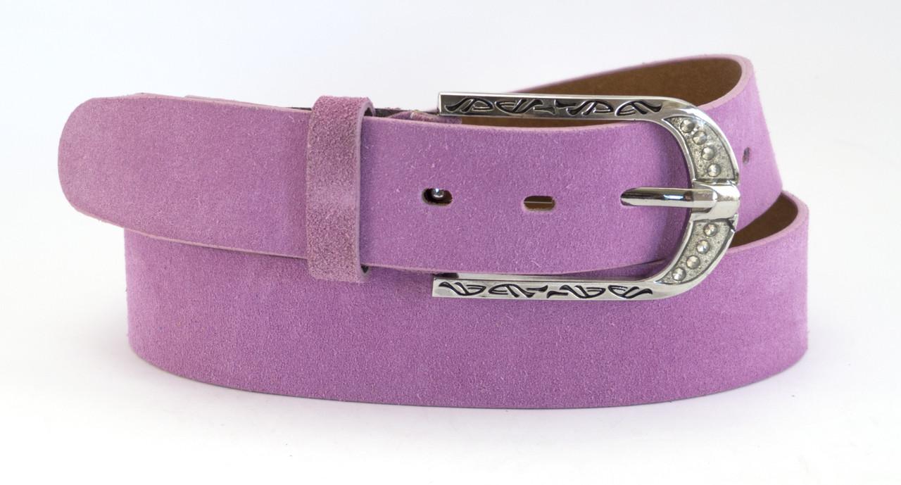 Женский яркий классический кожаный ремень замш 4см Mr&Mrs (100055)