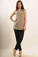 Красивая женская блуза шифоновая с коротким рукавом цвет беж