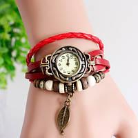 Женские часы-браслет винтажные красные Лепесток