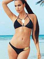 Стильный черный купальник со сьемным поролоном, фото 1