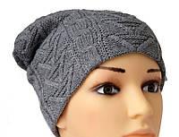 Вязаная шапочка серебристого цвета