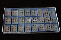 """Бижутерия оптом; серьги гвоздики """"3 в 1"""" в коробке, 24 набора"""