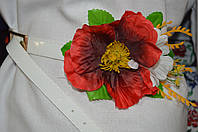 Пояс декорирован цветами под национальную одежду,  65/60 (цена за 1 шт. + 5 гр.)