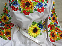 Лаковый пояс под вышиванку белого цвета с цветами,  65/60 (цена за 1 шт. + 5 гр.)