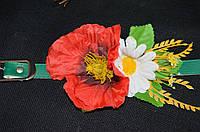 Лаковый пояс под вышиванку зеленого цвета с цветами,  65/60 (цена за 1 шт. + 5 гр.)