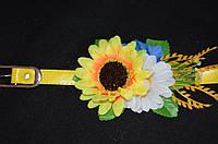 Желтый пояс декорирован цветами под национальную одежду,  65/60 (цена за 1 шт. + 5 гр.)