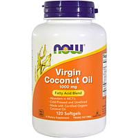 Кокосовое масло первого отжима, органическое, Now Foods, 1000 мг, 120 желатиновых капсул