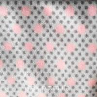 Трикотажное полотно флис полиэстер антипилинг, розовые горох на сером