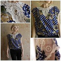 Блузка в горошек с кружевами короткий рукав