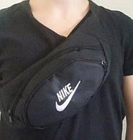 Барсетка мужская, сумка через плечо, на пояс, бананка, Найк черный надпись 1