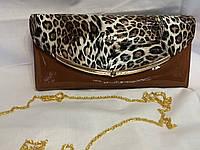 Клатч лаковый коричневый-леопардовый