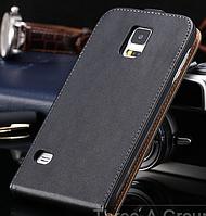 Кожаный чехол флип для Samsung Galaxy S5 i9600 SM-G900 черный