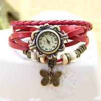 Женские часы-браслет винтажные красные Бабочка, фото 1