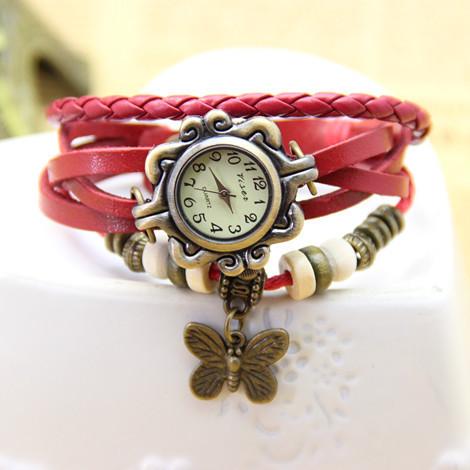 Женские часы-браслет винтажные красные Бабочка