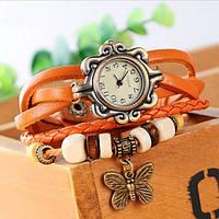 Женские часы-браслет винтажные оранжевые Бабочка, фото 1