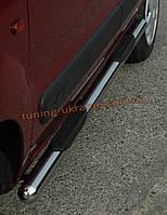 Пороги боковые труба c накладной проступью (длинная база) D70 на Volkswagen Caddy 2010