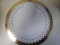 Поднос круглый ажурный пластм. белый d38см (код 02461)