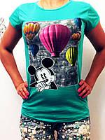 """Женская стильная футболка 999 """"Микки Воздушные Шары"""" в расцветках"""