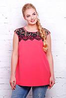 Блуза розовая с французским гипюром  ЛОЛА Разные цвета