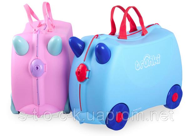 Чемодан детский Trunki Rosie. Розовый с удивительными цветными ручками!