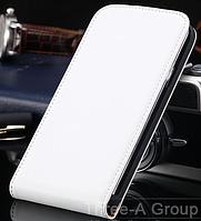 Кожаный чехол флип для Samsung Galaxy S5 i9600 SM-G900 белый