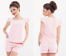 Т103 Костюм женский блузка+шорты в расцветках, фото 3