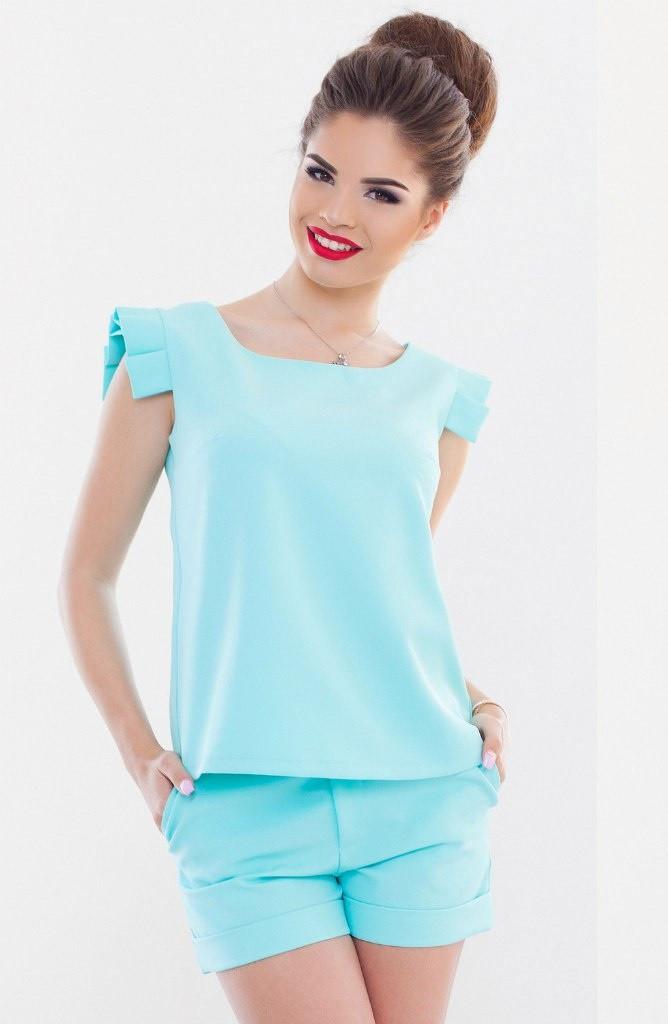 Т103 Костюм женский блузка+шорты в расцветках