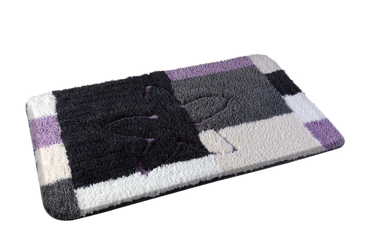 Коврик для ванной комнаты из микрофибры 50*80 с цветком светлый AWD02160774