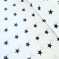 Хлопковая ткань польская звезды синие на белом
