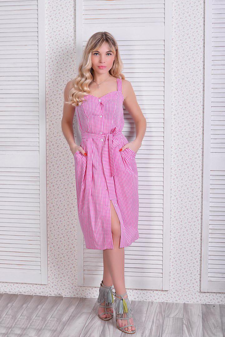 eb42efb13c27953 Стильное летнее платье-сарафан в клетку