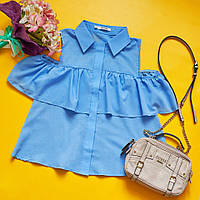"""Летняя женская блуза """"Кокетка"""" с воланами и вырезами на плечах (2 цвета)"""