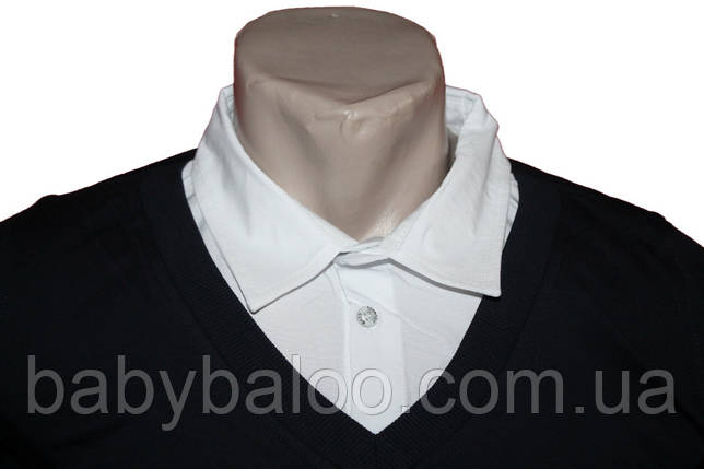 Рубашка для мальчика имитация полувер белый ворот (от 6 до 14 лет), фото 2