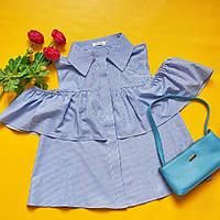 """Летняя женская блуза в полоску """"Кокетка"""" с воланами и вырезами на плечах (2 цвета)"""