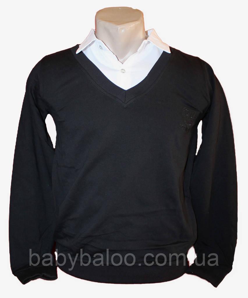 Рубашка для мальчика имитация полувер белый ворот (от 6 до 14 лет)