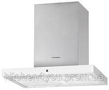 Pyramida НЕF 22 H-600 white (600 мм.) декоративная кухонная вытяжка, нержавеющая сталь / белое стекло