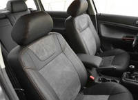 Авточехлы Leather Style для салона Mitsubishi Lancer X (10) мотор 2.0, черные (MW Brothers)