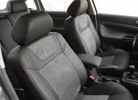 Авточехлы Leather Style для салона Volkswagen Golf VII '12-, серая строчка, без заднего подлокотника