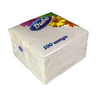 Салфетки бумажные Диво 100шт белые 33х33 1 уп