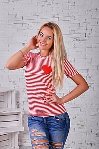 """Летняя женская футболка в полоску """"Сердце"""" с коротким рукавом (2 цвета)"""