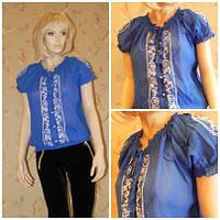 Блузка синяя с коротким рукавом и вышивкой