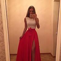 Платье Поэма верх без рукавов из гипюра низ юбка на поясе длиною в пол с разрезом спереди из крепшифона 157 ЛЯ