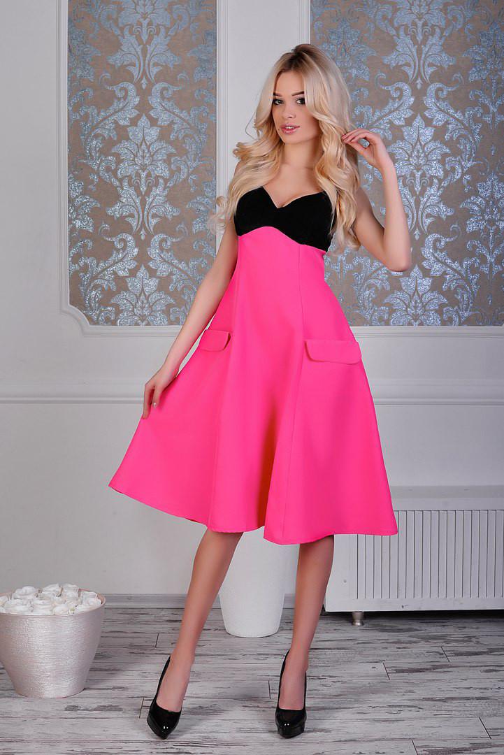 """Нарядное миди-платье """"Danielle"""" с декольте и карманами (4 цвета)"""