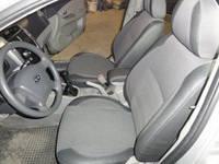 Авточехлы Premium для салона ЗАЗ Lanos / Sens красная строчка, задняя спинка закрывает подголовники
