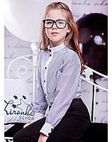 """Школьная рубашка с длинным рукавом """"Grey strips"""" Zironka"""