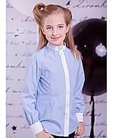 """Голубая рубашка в полоску для девочки """"Sea line"""" Zironka"""